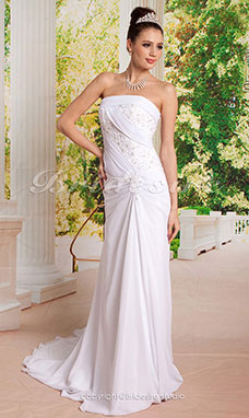 Slida/ Column Flare and Side-Draped Fit Bröllopsklänningar with Beaded Applique