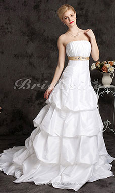 A-linje Axelbandslös Prinsessa Hovsläp Taft with Pick-ups and A Belt