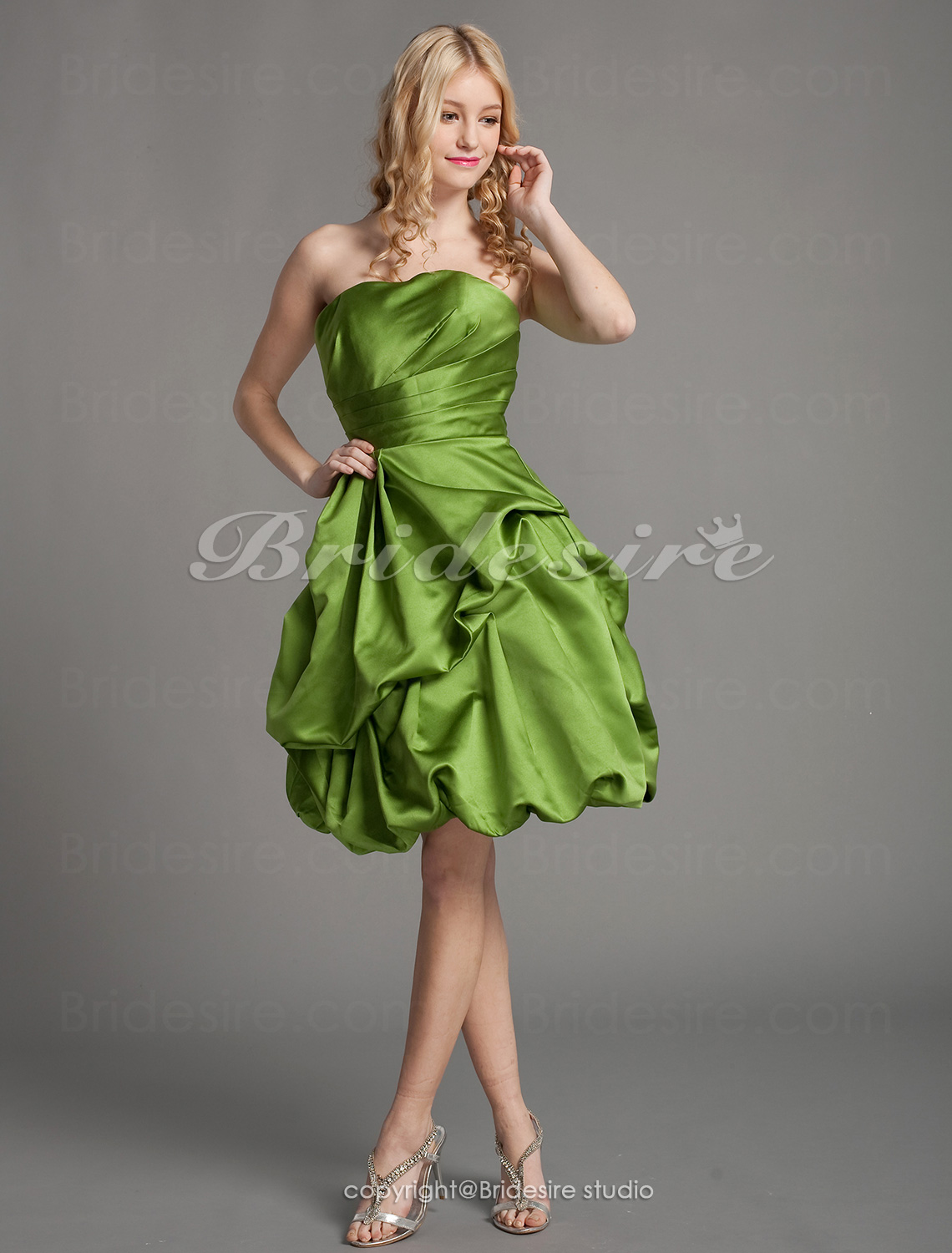 A-line Satin Knee-length Strapless Bridesmaid/ Cocktail Dress