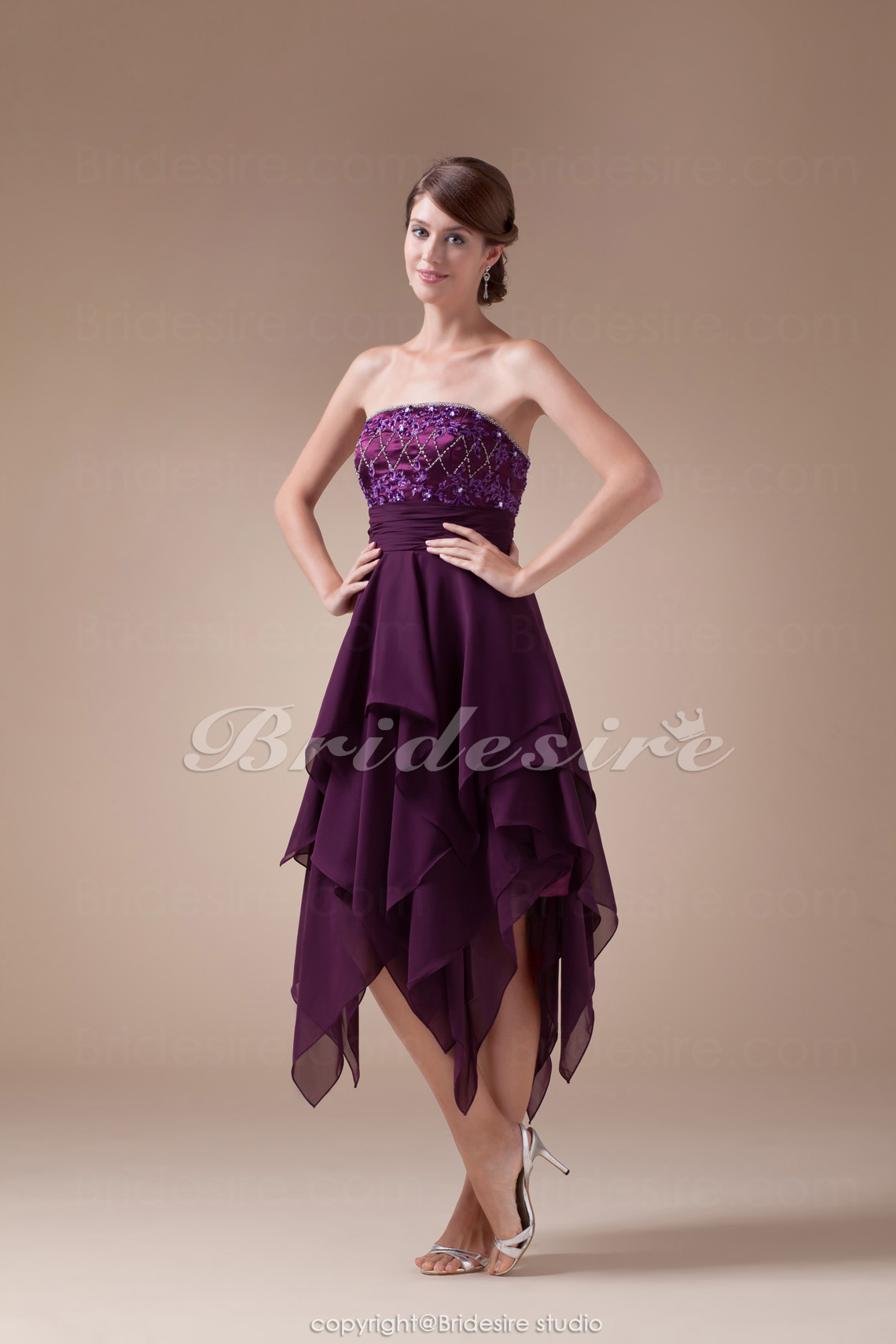 A-line Strapless Tea-length Sleeveless Chiffon Stretch Satin Dre