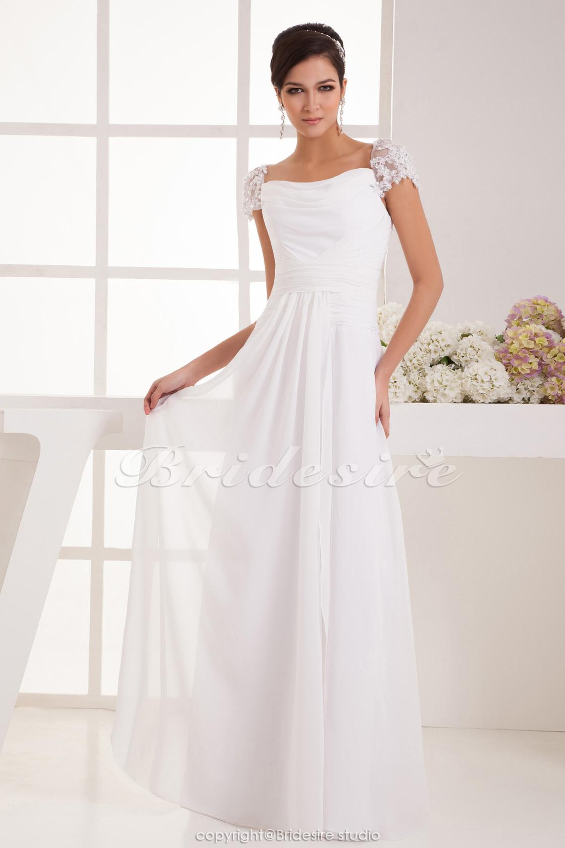 99b609aca902 Bridesire - A-linje Axelbandslös Golvlång Kort ärm Chiffong brudklänning  [BD41350] - SEK835.92 : Bridesire