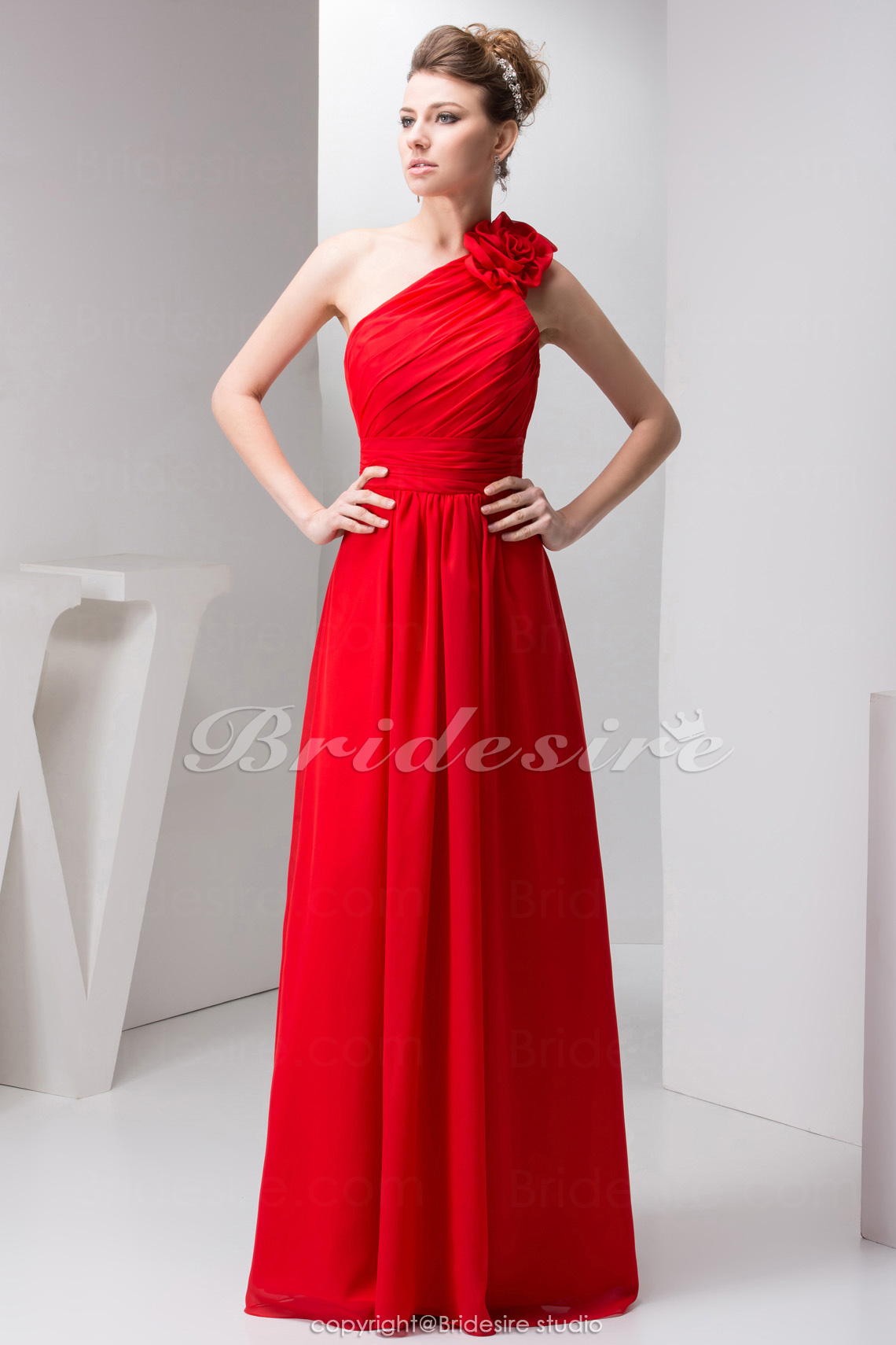 A-line One Shoulder Floor-length Sleeveless Chiffon Dress